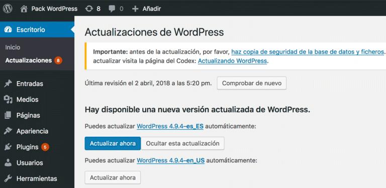 Actualización de WordPress
